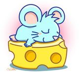 ★鼠ベッドチーズお昼寝イラスト